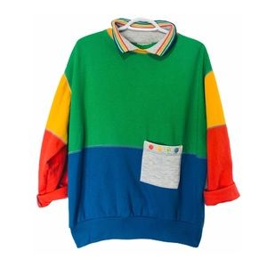 😍 Vintage 90s Colour-block Collared Sweatshirt L